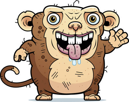 monstrous: A cartoon illustration of an ugly monkey waving.