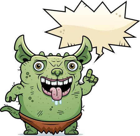 gremlin: A cartoon illustration of an ugly gremlin talking. Illustration