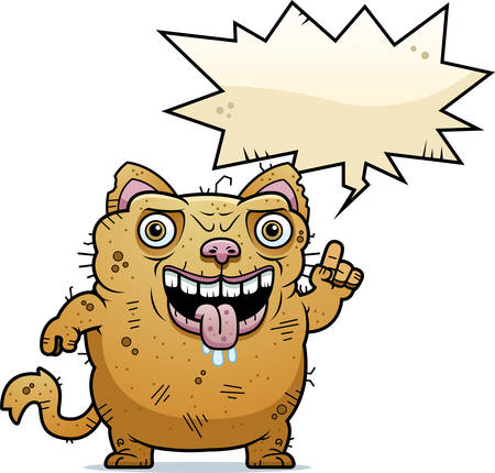 A cartoon illustration of an ugly cat talking.