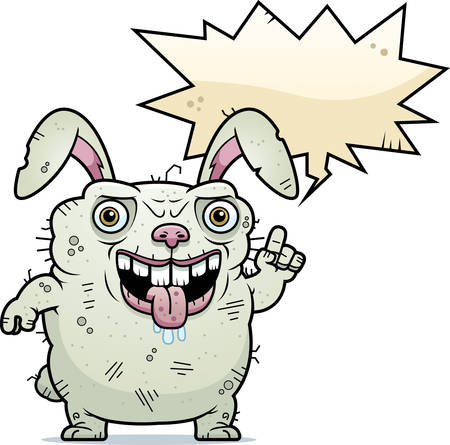 beastly: A cartoon illustration of an ugly bunny talking. Illustration