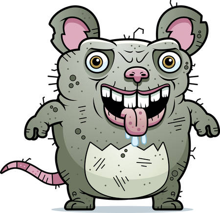 A cartoon illustration of an ugly rat standing.