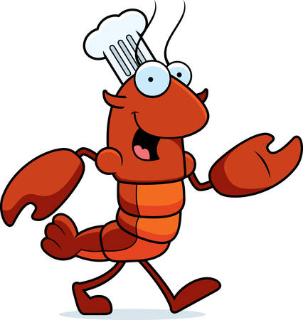 new orleans: A cartoon illustration of a crawfish chef walking.