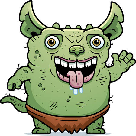 monstrous: A cartoon illustration of an ugly gremlin waving.