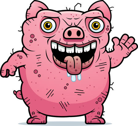 beastly: A cartoon illustration of an ugly pig waving.