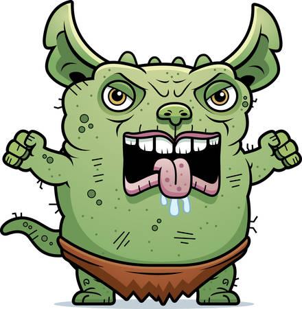 A cartoon illustration of an ugly gremlin looking angry. Ilustração