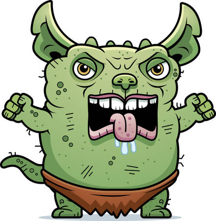 gremlin: A cartoon illustration of an ugly gremlin looking angry. Illustration