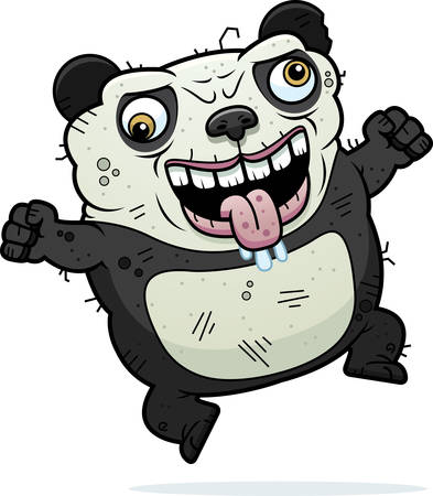 beastly: A cartoon illustration of an ugly panda bear looking crazy.