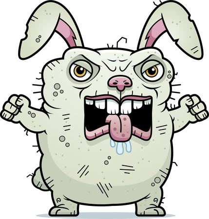 hideous: A cartoon illustration of an ugly bunny looking angry. Illustration