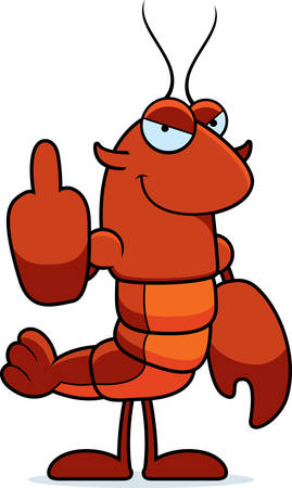 A cartoon illustration of a crawfish giving the middle finger.