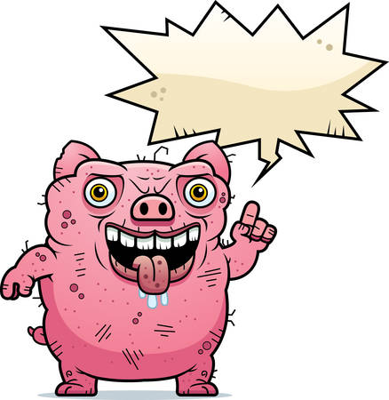 A cartoon illustration of an ugly pig talking.