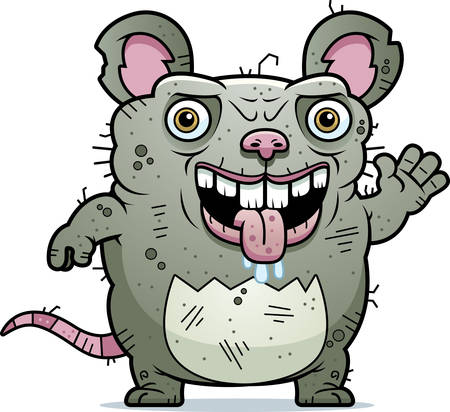 beastly: A cartoon illustration of an ugly rat waving.