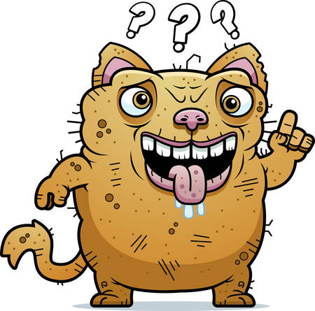 beastly: A cartoon illustration of an ugly cat looking confused.