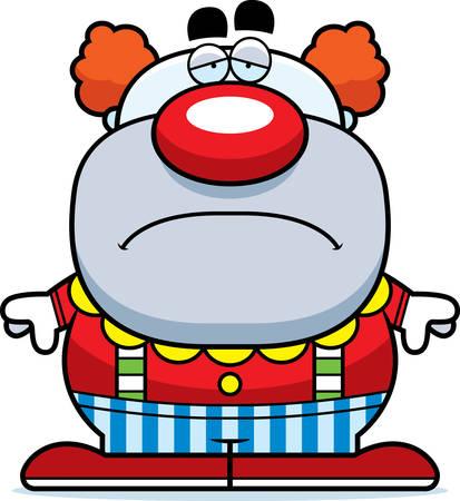 A cartoon illustration of a clown looking sad.