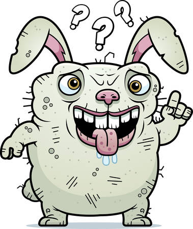 monstrous: A cartoon illustration of an ugly bunny looking confused.
