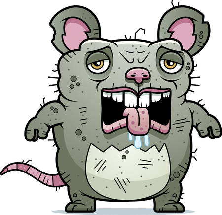 A cartoon illustration of an ugly rat looking tired.