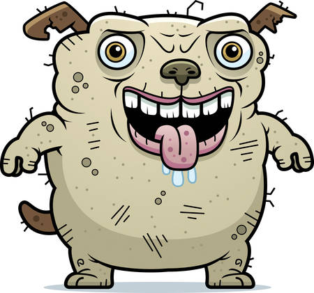 hideous: A cartoon illustration of an ugly dog standing.