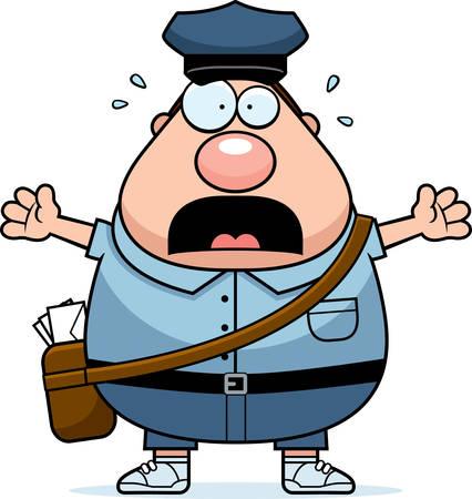 mailman: A cartoon illustration of a mailman looking scared.