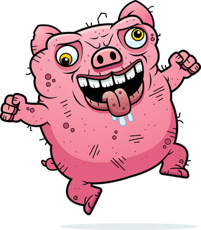 hideous: A cartoon illustration of an ugly pig looking crazy.