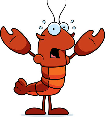 A cartoon illustration of a crawfish looking scared.