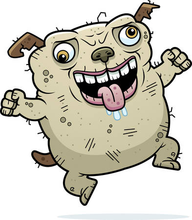 awful: A cartoon illustration of an ugly dog looking crazy. Illustration
