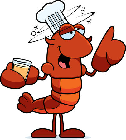 A cartoon illustration of a crawfish chef looking drunk.