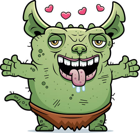 gremlin: A cartoon illustration of an ugly gremlin ready to give a hug.