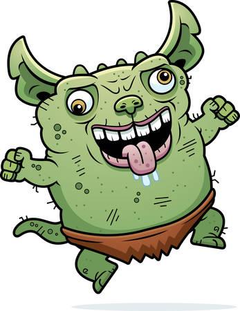 gremlin: A cartoon illustration of an ugly gremlin looking crazy.