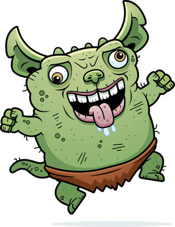 A cartoon illustration of an ugly gremlin looking crazy.