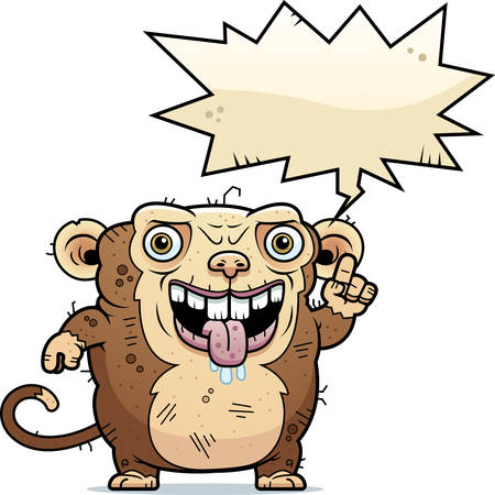 hideous: A cartoon illustration of an ugly monkey talking.