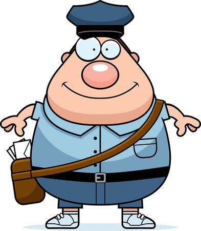 mailman: A cartoon illustration of a mailman smiling. Illustration