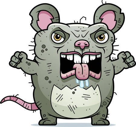 A cartoon illustration of an ugly rat looking angry. Illustration