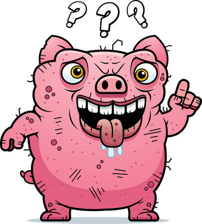 beastly: A cartoon illustration of an ugly pig looking confused. Illustration