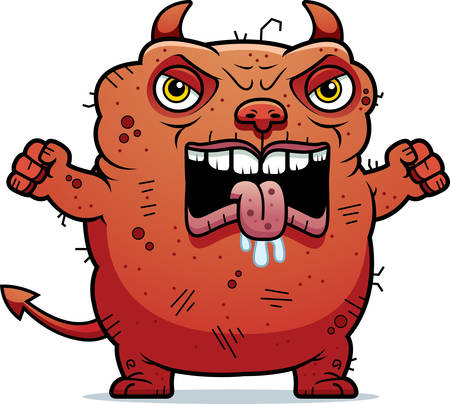 beastly: A cartoon illustration of an ugly devil looking angry.