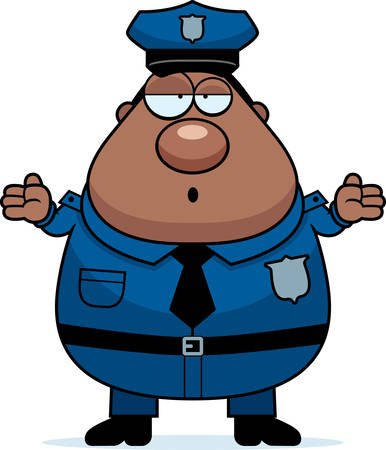 enforcement: A cartoon illustration of an police officer looking confused.