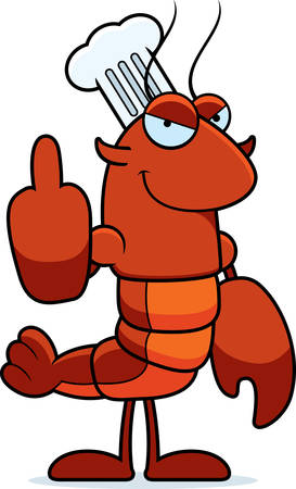 A cartoon illustration of a crawfish chef giving the middle finger. Illustration