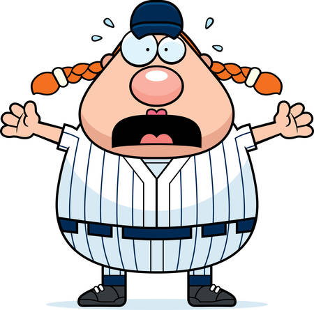 softball player: A cartoon illustration of a softball player looking scared.