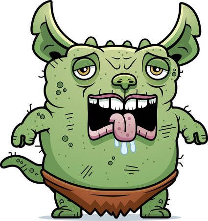 hideous: A cartoon illustration of an ugly gremlin looking tired.