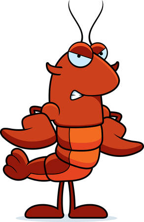 A cartoon illustration of a crawfish looking angry. Illustration