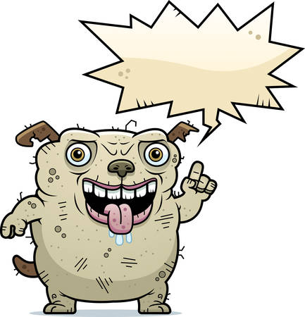 beastly: A cartoon illustration of an ugly dog talking.