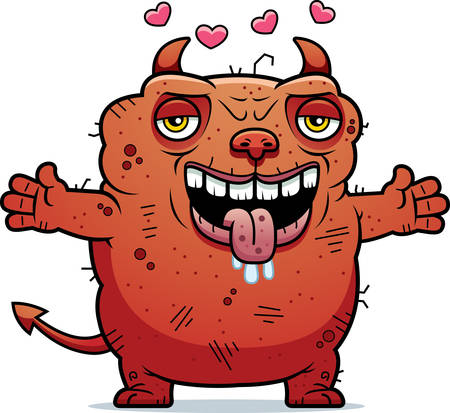 unattractive: A cartoon illustration of an ugly devil ready to give a hug.