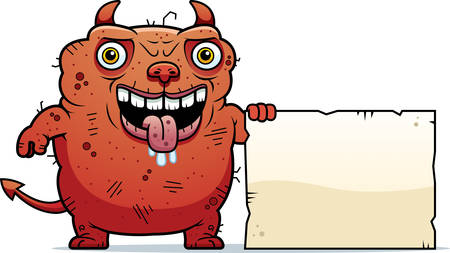 beastly: A cartoon illustration of an ugly devil with a sign. Illustration