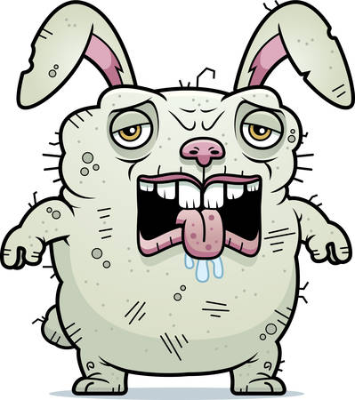 unattractive: A cartoon illustration of an ugly bunny looking tired.