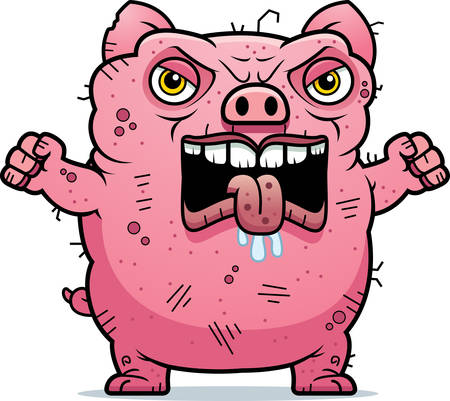 beastly: A cartoon illustration of an ugly pig looking angry.