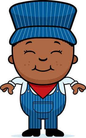 A cartoon illustration of a boy train conductor standing and smiling.