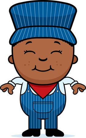 Een cartoon illustratie van een jongen conducteur permanent en glimlachend. Stock Illustratie