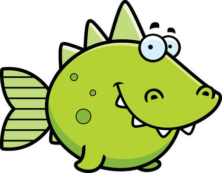 A cartoon illustration of a prehistoric fish happy and smiling.