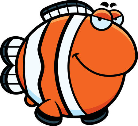 A cartoon illustration of a clownfish with a sly expression. Illustration