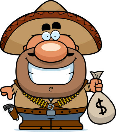robbery: A cartoon illustration of a bandito with a moneybag.