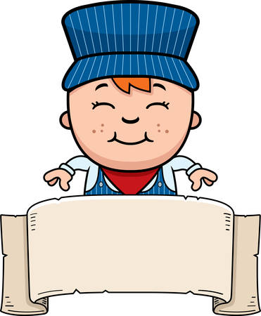 railroad: A cartoon illustration of a boy train conductor with a banner.