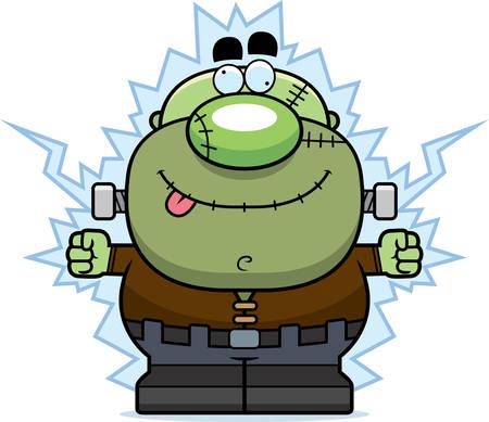 A cartoon illustration of a Frankenstein monster getting shocked. 向量圖像
